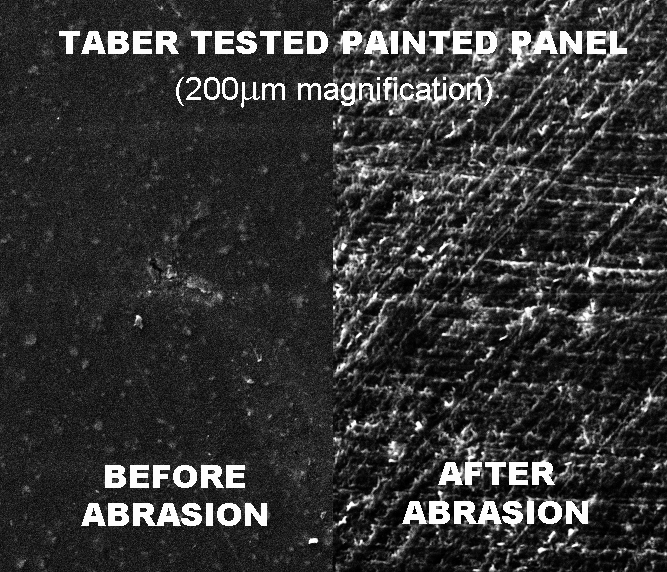 Taber Test Before & After Abraser (Painted Panel)